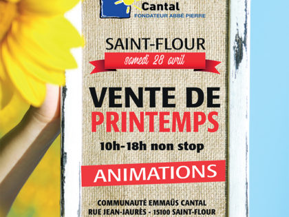 Vente de Printemps – Avril – Emmaüs Cantal – Saint-Flour
